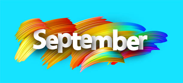 Blue+september+banner+with+spectrum+brush+strokes+on+white+background.+Colorful+gradient+brush+design.+Vector+paper+illustration.